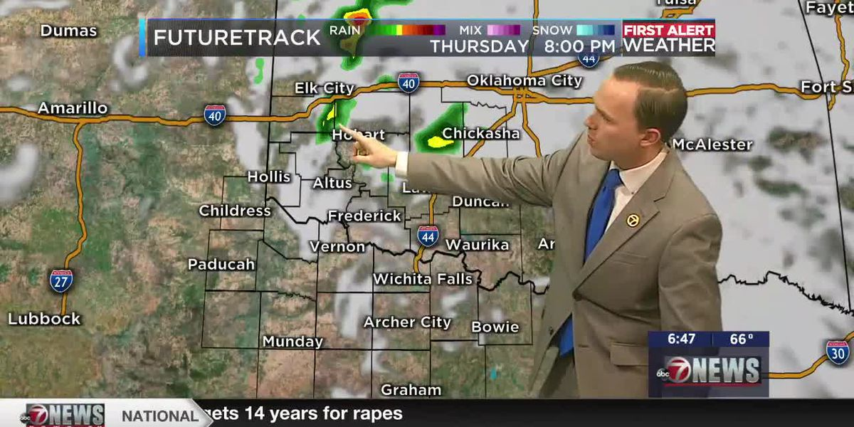 7News First Alert Weather: A strong storm can't be ruled out across parts of southwest Oklahoma tomorrow