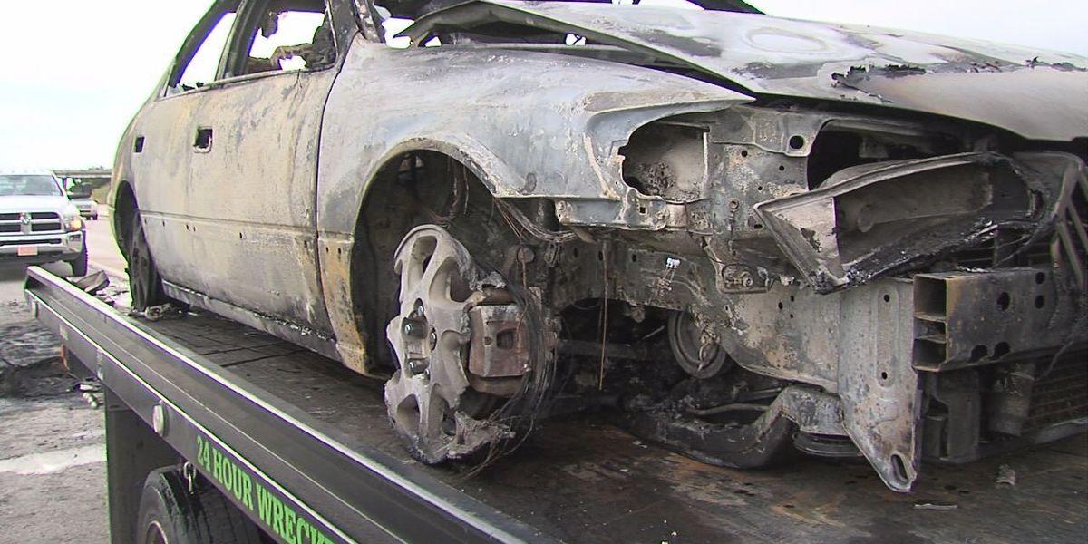 Car fire, 3 car accident shuts down I-44