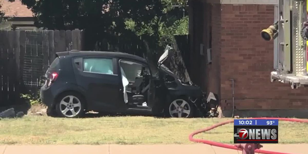 Driver taken to hospital after crashing into Lawton home