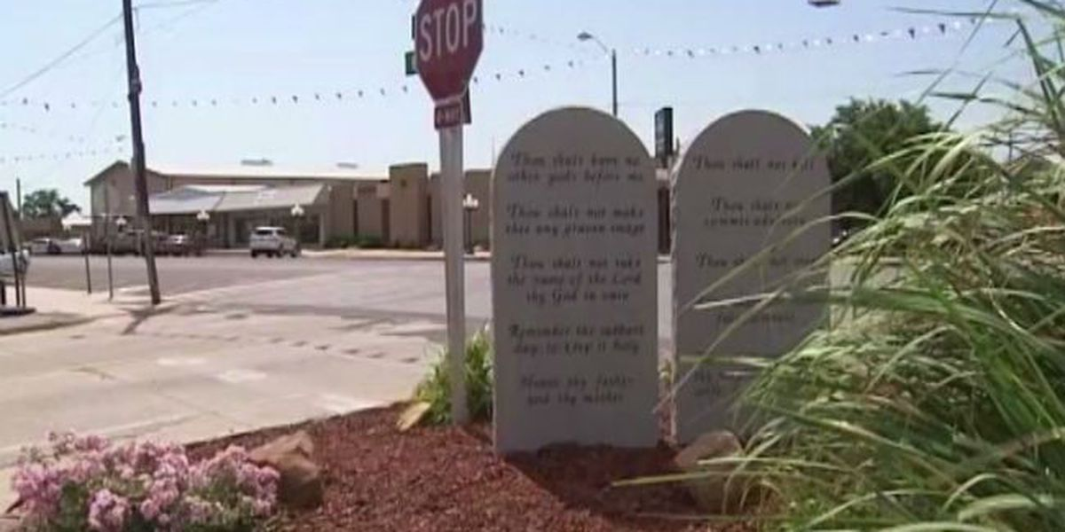 Ten Commandments monument in Rush Springs