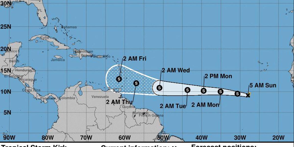 Tropical Storm Kirk accelerates westward across Atlantic