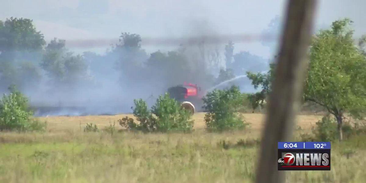 Crews fight fire near Meers-Porter Hill Road
