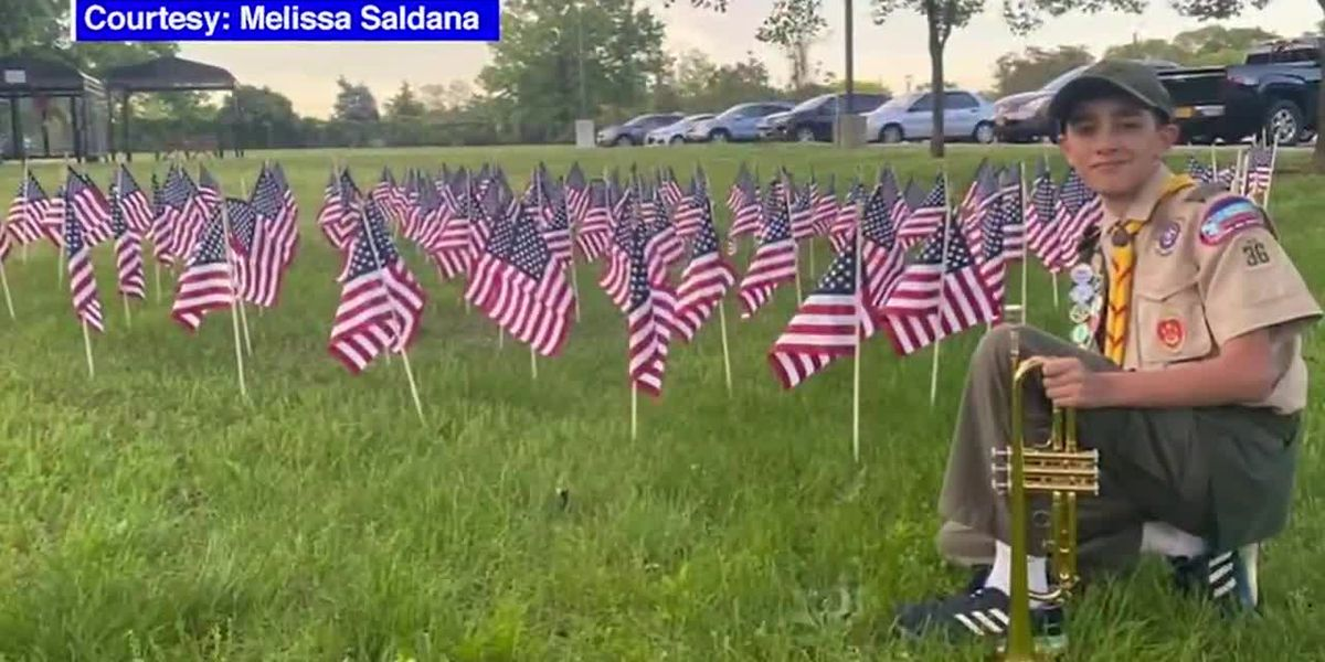 Boy Scout plays 'Taps' at Memorial Day flag-planting ceremony outside NJ veterans home