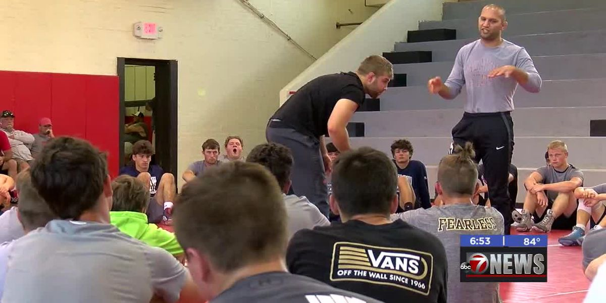 OSU wrestlers work with area grapplers in Stephens County Camp