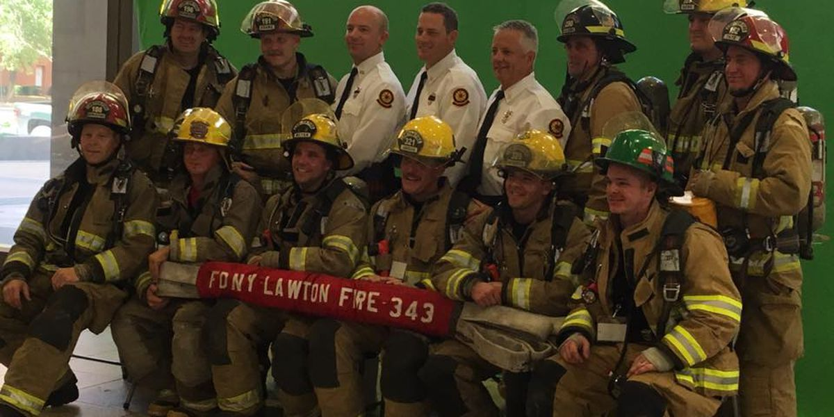 Lawton firefighters at 9/11 stair climb