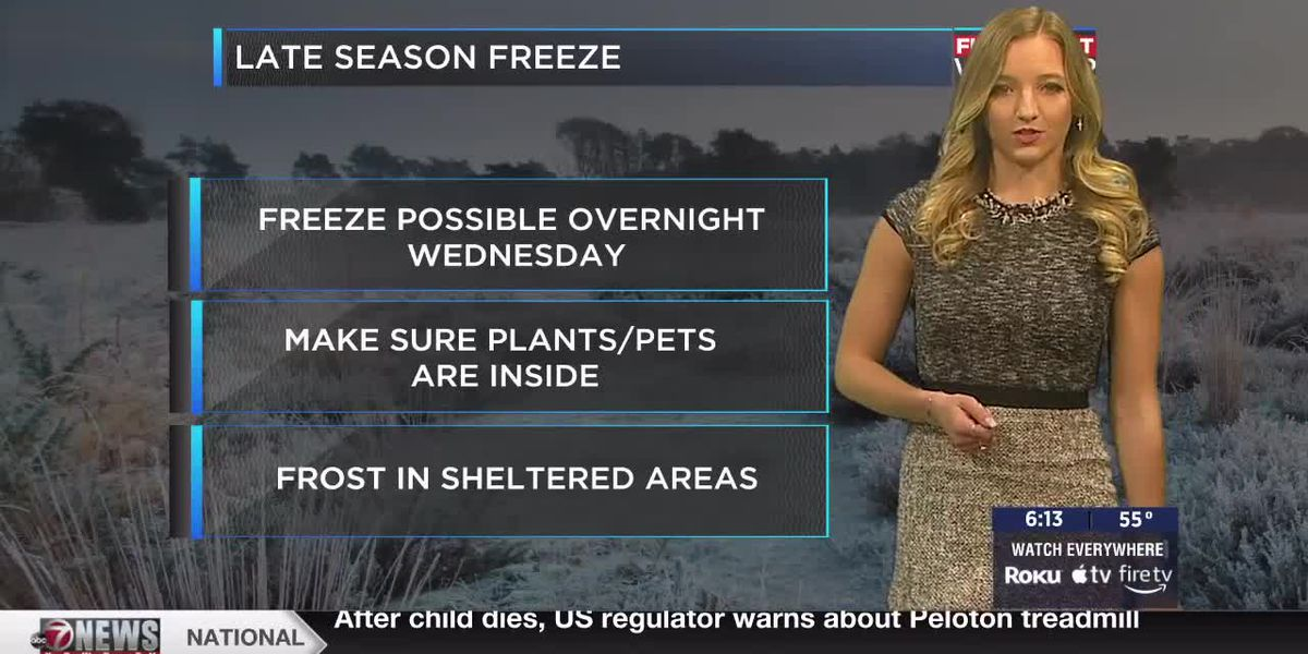 Frost possible tomorrow, strong cold front Tuesday morning