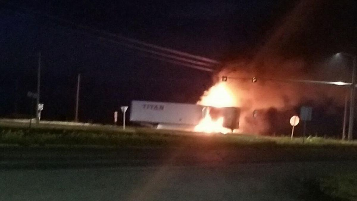 Semi catches fire on highway in Waurika
