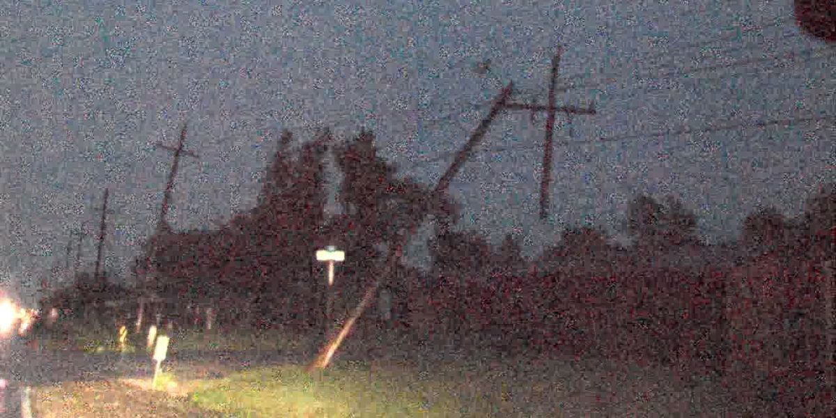 Storms topple power poles, trees