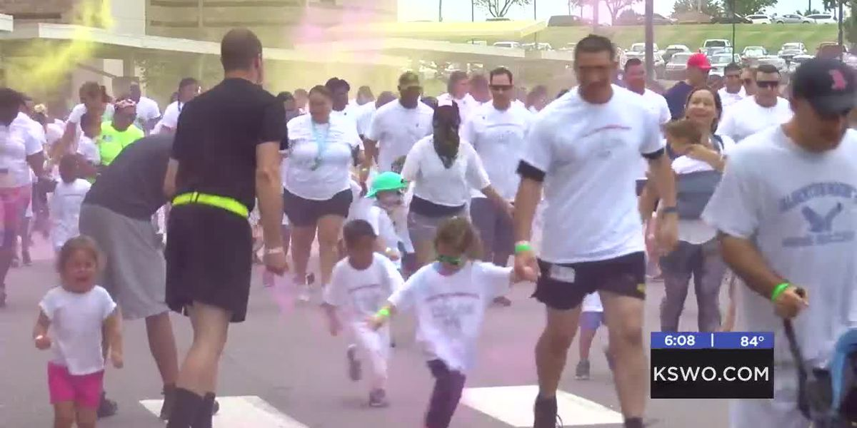 Freedom Elementary students and parents take part in color run
