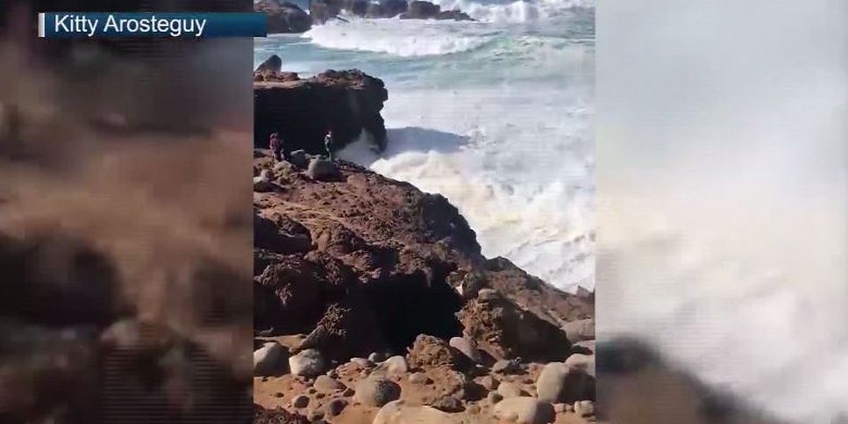 Young man, 18, feared dead after being swept into ocean following 15-foot fall