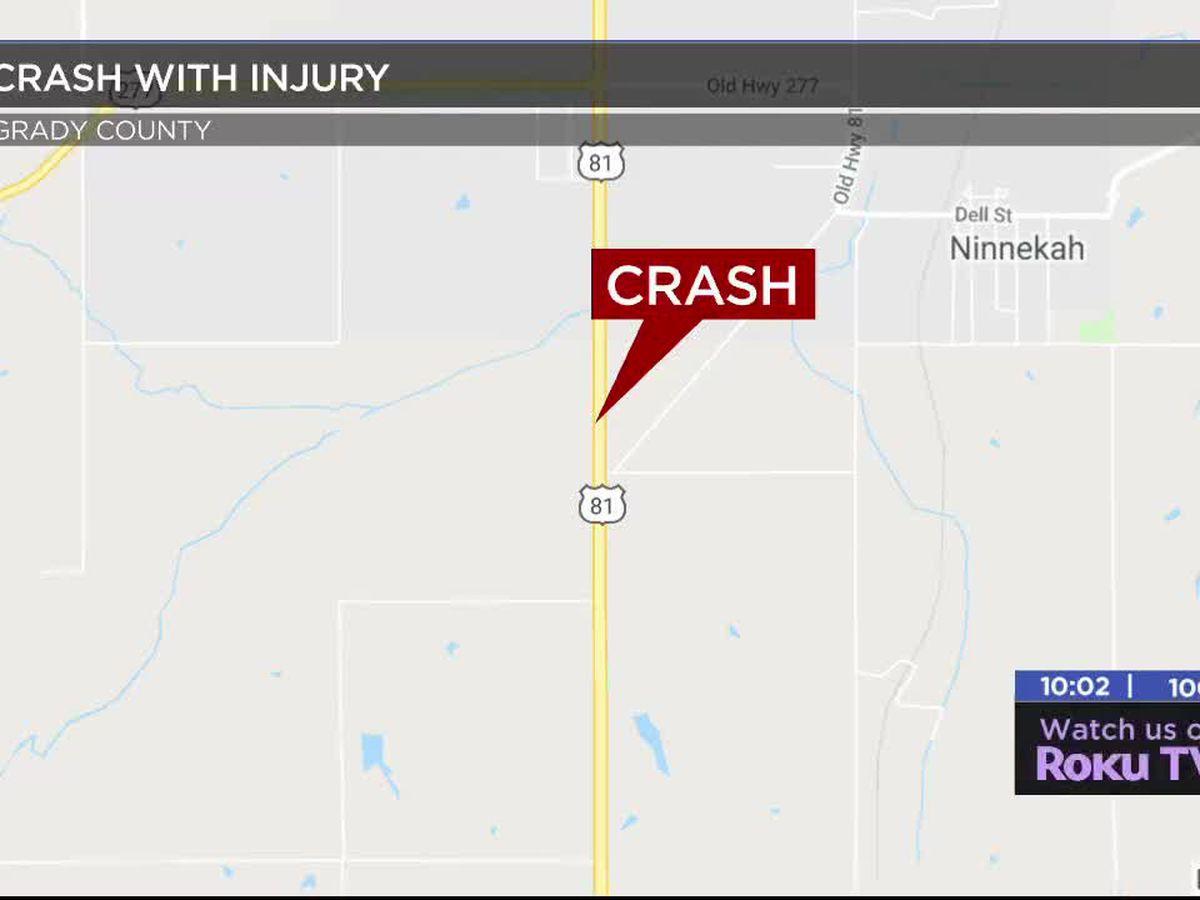 Duncan man hurt in Grady County crash