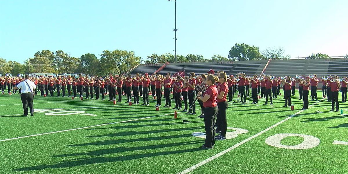 Pride of Oklahoma Band performs for high school students