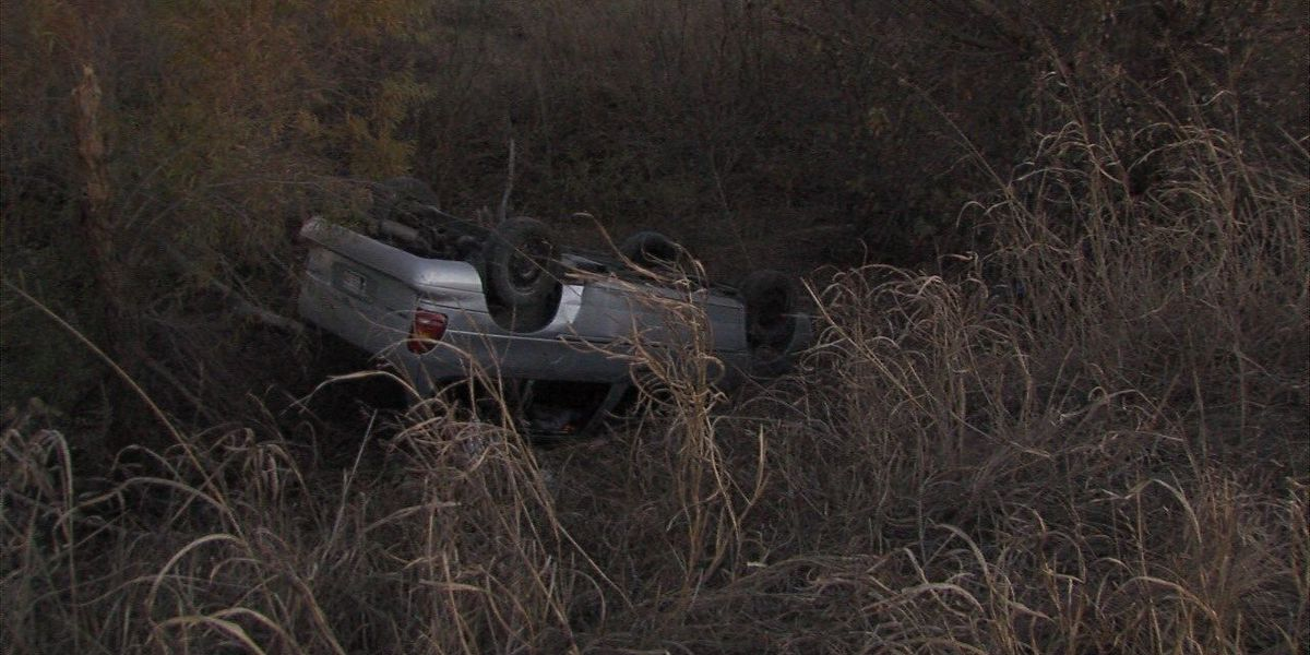 Rollover crash sends man to the hospital