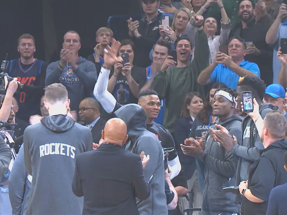 Russell Westbrook makes Oklahoma return to delight of local fans
