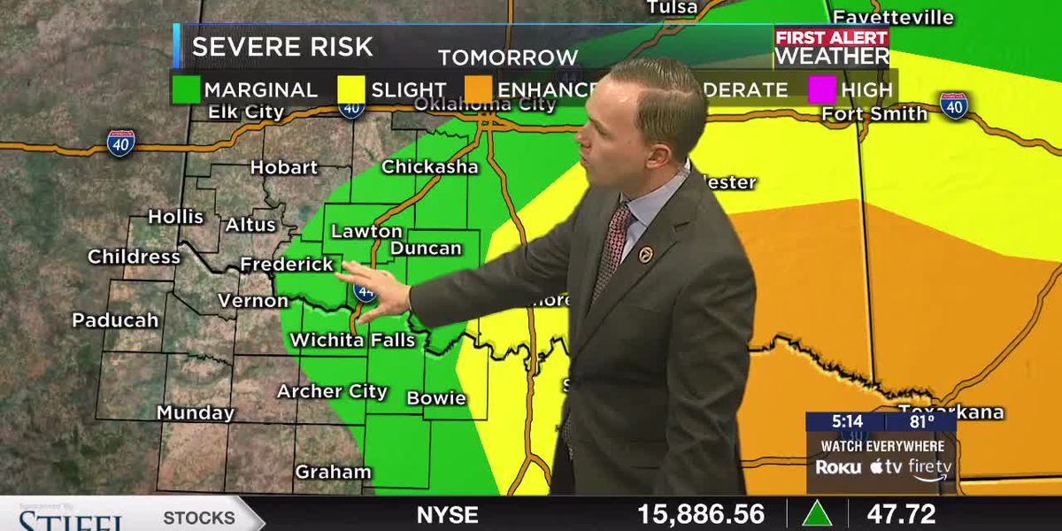 7News First Alert Weather: Isolated strong-to-severe storms possible tomorrow evening ahead of the cold front
