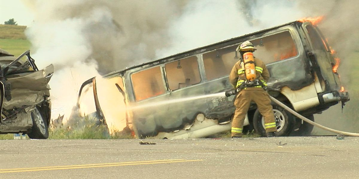 Injuries sustained, van fully engulfed after Comanche County crash