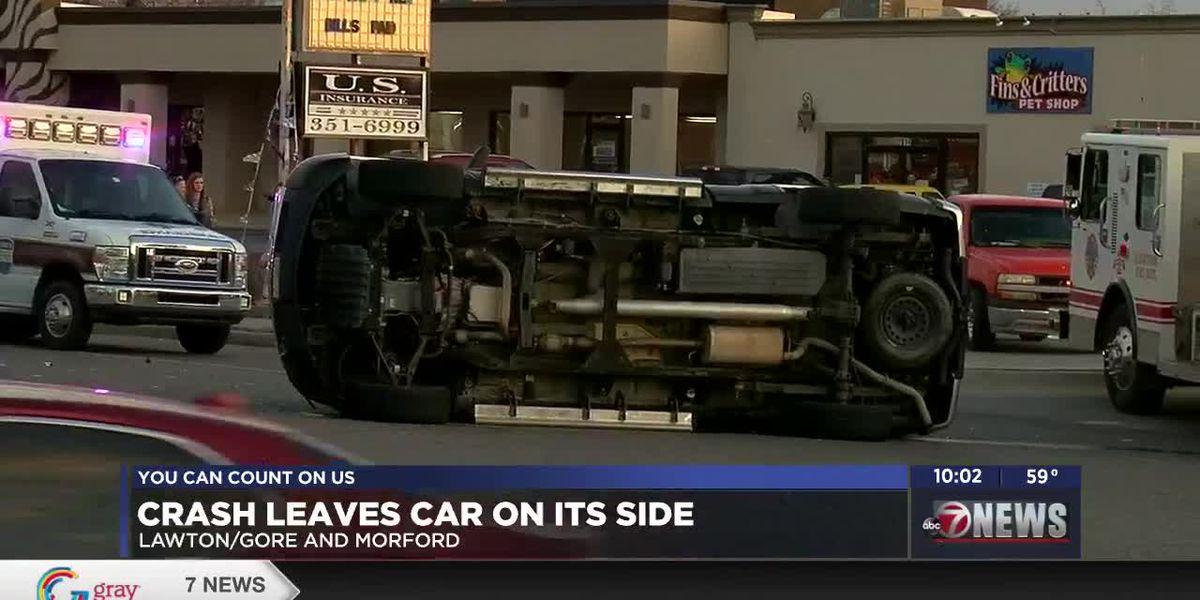 Truck left on side after wreck in Lawton