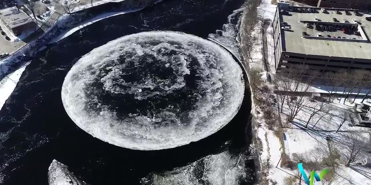 Moon river: Giant ice disk spins in Maine