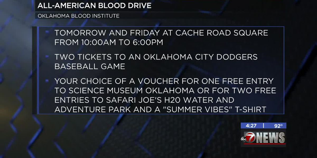 Oklahoma Blood Institute hosting All-American Blood Drive