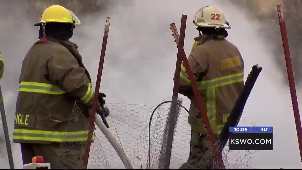 Building lost in fire near Walters