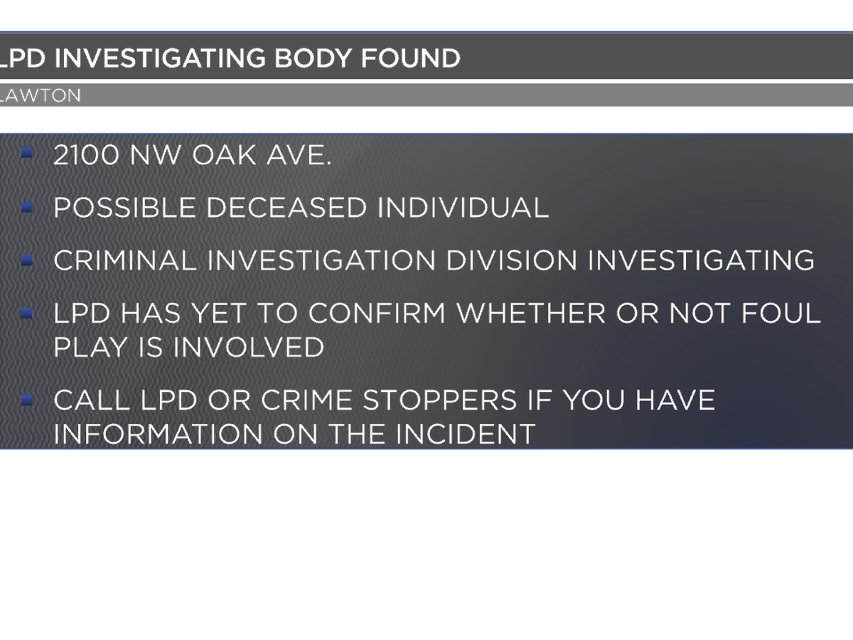 UPDATE: LPD identifies body found on NW Oak Avenue
