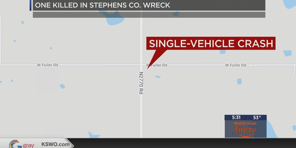 One dead after single-vehicle crash in Stephens Co.