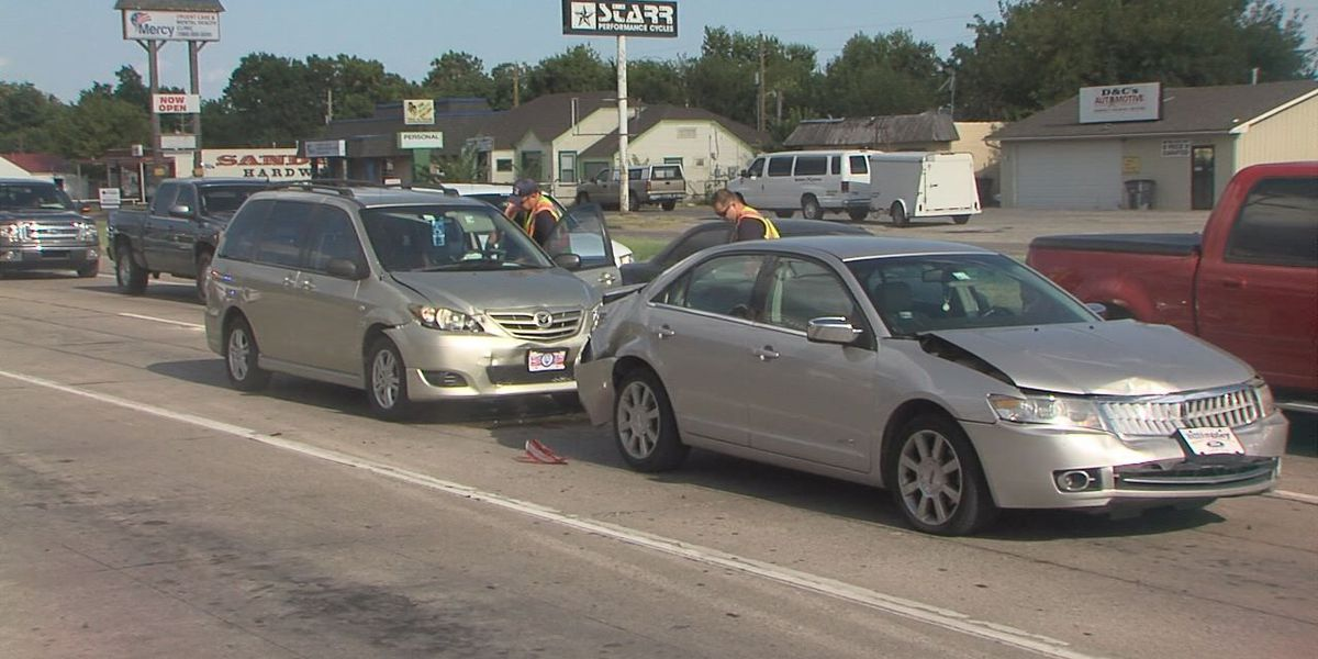 Driver injured in three-car collision