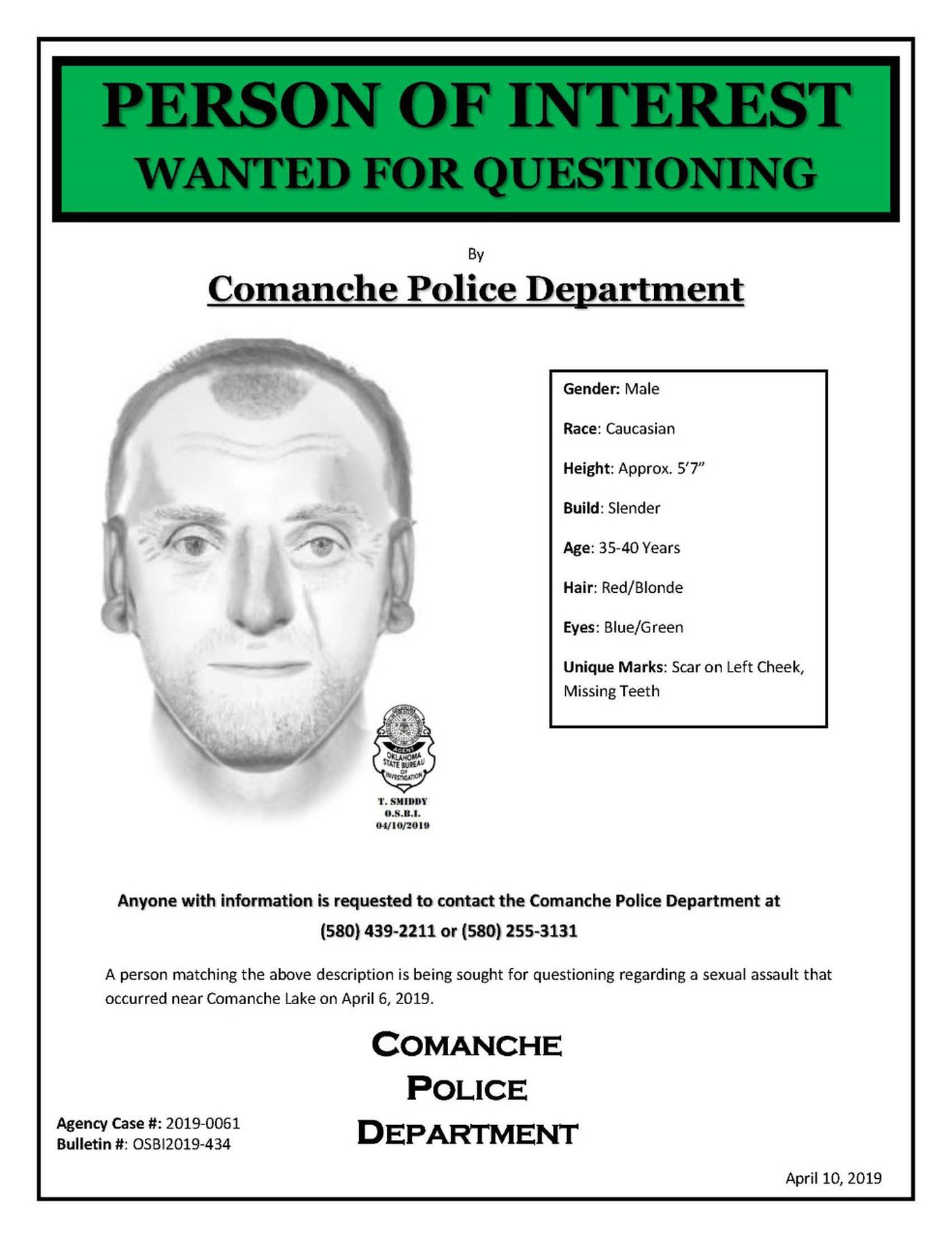 Sketch released of man who attacked a woman at Comanche Lake