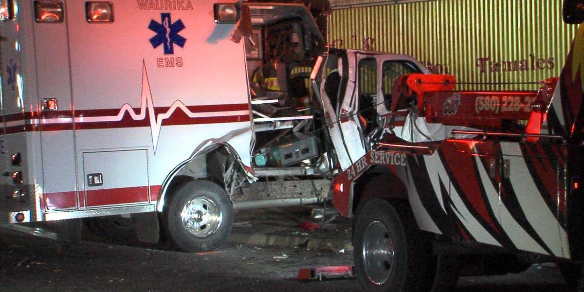 Ambulance crashes into restaurant