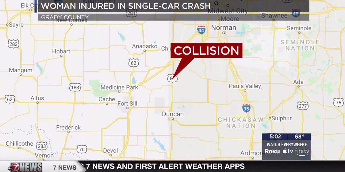 Woman injured in Grady County single-car crash