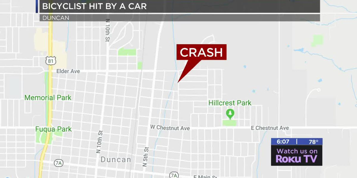 Bicyclist hit by car in Duncan