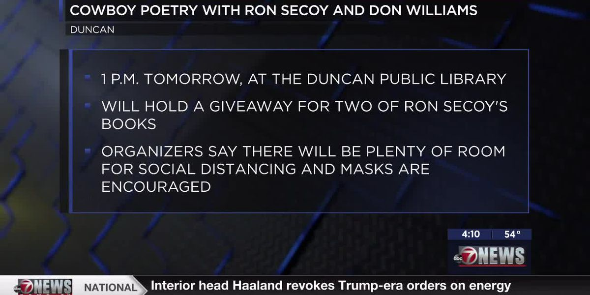 Duncan Public Library hosting Cowboy Poetry with Ron Secoy and Don Williams
