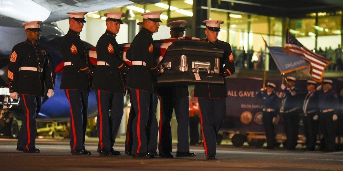 U.S. Marine Killed in Pearl Harbor attack receives warm Oklahoma welcome