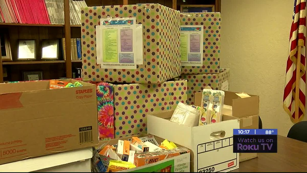 Lawton Board of Realtors donating school supplies to homeless students